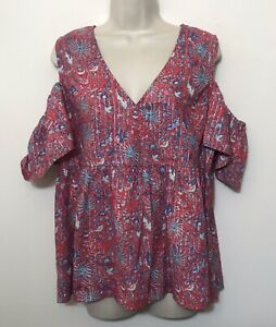 Lucky-Brand-Large-Shirt-Pink-Short-Sleeve-Cold-Shoulder-V-Neck-Relaxed-Fit-Top