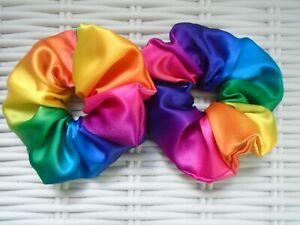 Pack De 2 Rainbow Hair Scrunchies Scrunchy Liens Accessoire Summer Tie Band New-afficher Le Titre D'origine Soyez Amical Lors De L'Utilisation