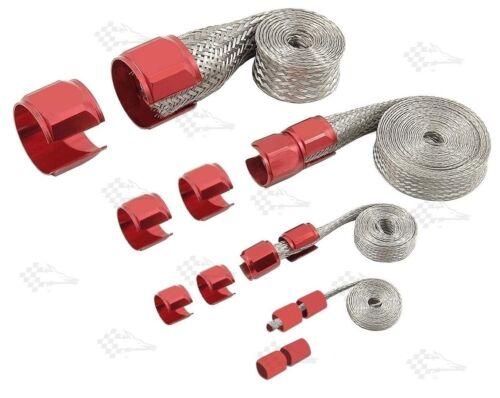 Vacuum Fuel Heater Radiator Anodised Red Braided Steel Hose Sleeving Kit