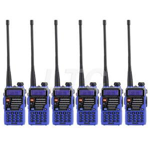 Blue-6Pack-Baofeng-UV-5R-Plus-V-UHF-Ham-Two-way-Radio-High-Power-Antenna-USA