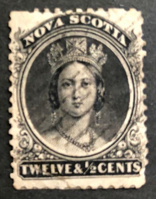 NOVA SCOTIA 1860- 1863 # 13 QUEEN VICTORIA 12 1/2 cents BLACK USED