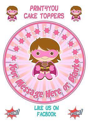 ND1 Supergirl Super hero girl personalised round cake ...