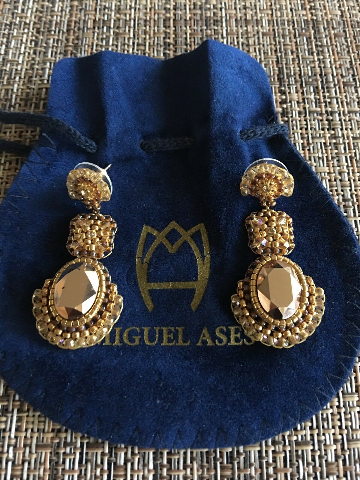 MIGUEL ASES CRYSTAL BEADED DROP EARRINGS