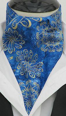 MENS ROYAL BLUE & GOLD SWIRL DESIGN COTON ASCOT CRAVAT/KERCHIEF-WEDDING/ VINTAGE
