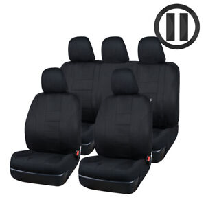 Universal-Car-Seat-Covers-Polyester-Black-Steering-Wheel-Cover-Seat-Belt-Cover