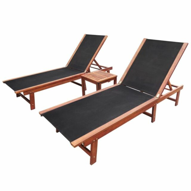 Sun Loungers 2 pcs with Table Solid Acacia Wood and Textilene