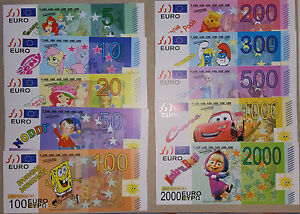 Funny Play Money Euro For Kids Cartoon Spongebob Disney 10 X 10