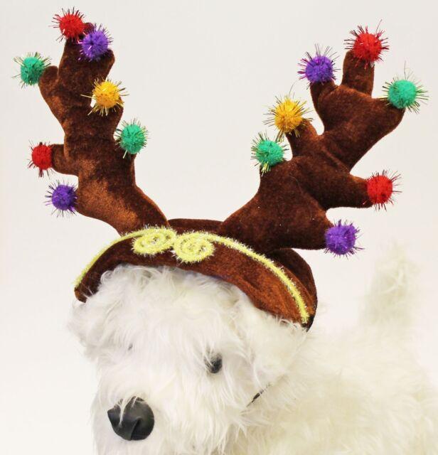 Adorable Dog Puppy Pet Christmas Reindeer Deer Antlers Costume w/Adj Chin Strap