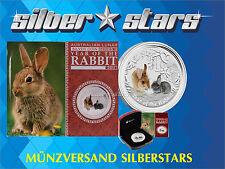 1 OZ 999 Silber Lunar II 2011 - Jahr des Hase Farbe / Color BOX