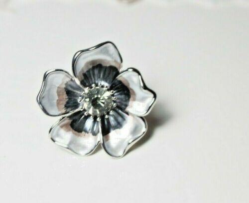 Ring Fingerring Damen  silber grau verstellbar stylisch Metall Blume