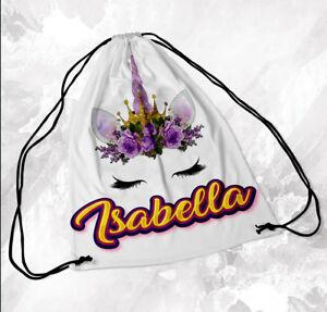 Personalised Drawstring Bag Any Name Unicorn Design Swimming School Nursery PE 1