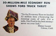 Photo Endorsed by Herb Light of Colusa, CA Original 1952 Ford Truck Engine Ad