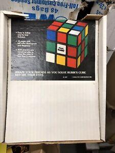 1981-Rubiks-Cube-Solution-Store-display-3d-Rubiks-Header-amp-10-mint-books