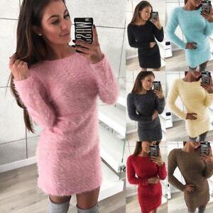 Womens-Long-Sleeve-Fluffy-Sweater-Mini-Jumper-Dress-Bodycon-Solid-Winter-Warm