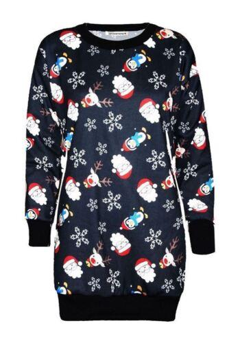 New Ladies Xmas Reindeer Santa Elf Christmas Fleece Knit Jumper Tunic Mini Dress
