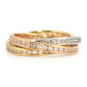 Russian Wedding Ring Diamond Set Full Eternity Ring in 18k Gold eBay