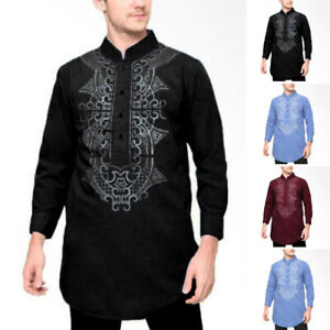 INCERUN-Mens-Dashiki-African-Ethnic-T-shirt-Long-Sleeve-Tops-Kaftan-Tee-Shirt-UK