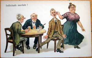 1910-Color-Litho-Postcard-Beer-Drinking-Man-Pulled-Away-by-Angry-Wife