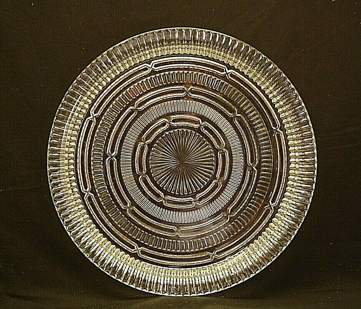 Vintage 14  Round Serving Platter Clear Ribbed Abstract Designs Weddings Parties