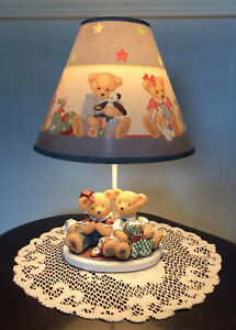 Vintage Round Teddy Bear Tin Up-cycled Nursery Lamp with New Blue Fabric Lamp Shade