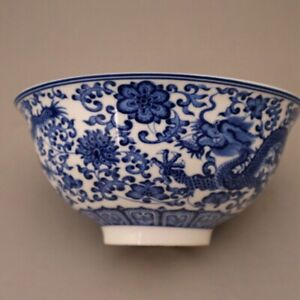 Chinese-old-porcelain-Blue-and-white-double-dragon-pattern-bowl-rice-bowl
