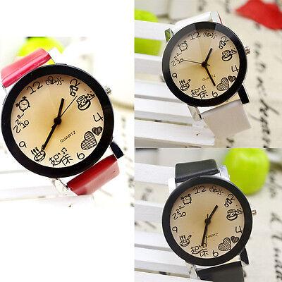Cute Women Girls Fuax Leather Strap Round Dial Quartz Wrist Dree Watch