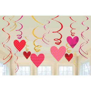 Image Is Loading Red Heart Hanging Swirl Decorations Valentine Wedding Party