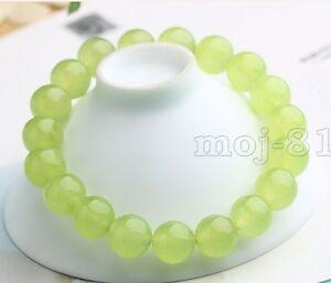 10mm-Natural-Green-Peridot-Gemstone-Round-Beads-Stretch-Bangle-Bracelet-7-5-039-039
