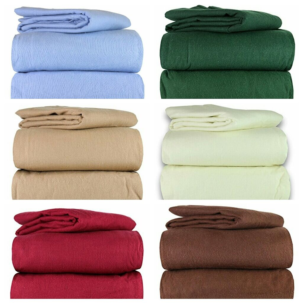 Super Soft Flannel 100% Cotton 4-Piece Bed Sheet Sets 6 FarbeS 3 Größes Available