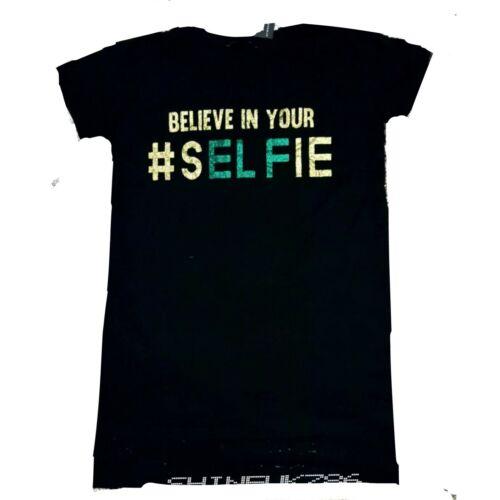 Primark Femme Noir Believe in your selfie Noir T Shirt Tee Top de Noel Paillettes