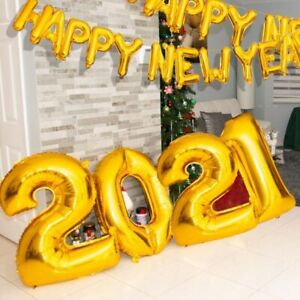2021 Balloons Rose Gold Silver Number Happy New Year Merry Christmas Party Decor | eBay