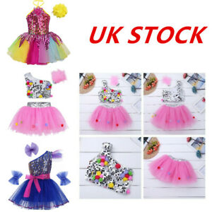 UK-Girls-Jazz-Dance-Sequins-Dress-Kid-Ballet-Latin-Tutu-Skirt-Dancewear-Costume