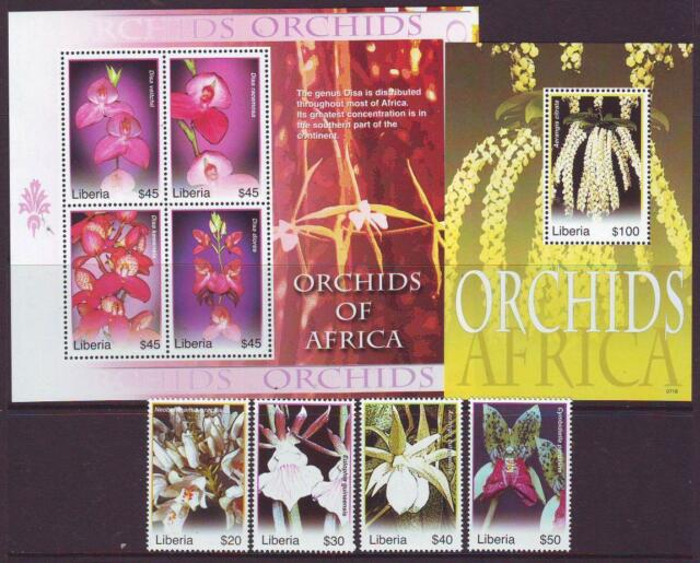 LIBERIA 2007 ORCHIDS OF AFRICA  SET4+S/LET4+M/SHEET  MINT NEVERHINGED