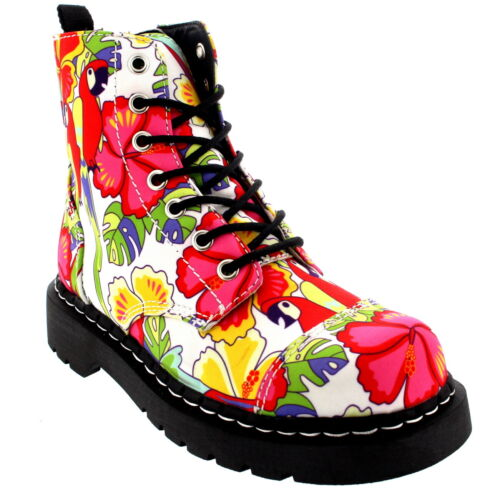 Womens T.U.K Anarchic 7 Eye Boot Parrot Tropical Print Lace Up Ankle Boot UK 3-9