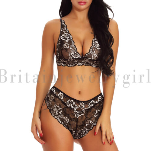 Women 2 Piece Lace Lingerie Bra and Panty Set Halter Babydoll V Neck Bodysuit