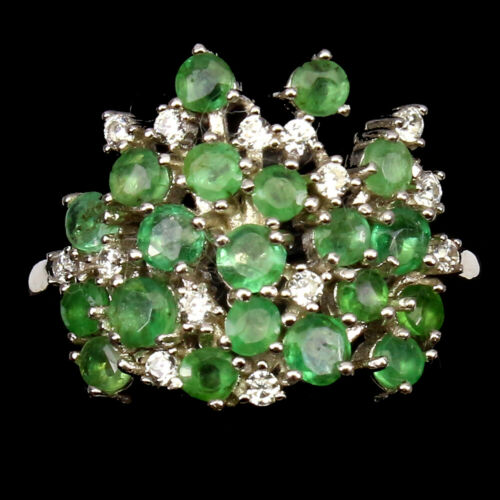 Unheated Round Green Emerald White Pearl Gold Plate 925 Sterling Silver Earrings