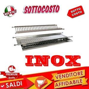 SCOLAPIATTI-COLAPIATTI-AD-INCASSO-DI-86-CM-ACCIAIO-INOX-CON-BASE-VASCHETTA-GOCCE