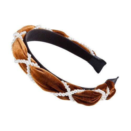 Fashion Cross Pearls Velvet Hair Hoop Headband Hairband for Women Girl Hair Band
