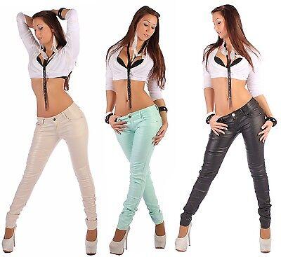 B54 Damen Leder Hose Lederhose Röhre Leder-optik Kunstleder glänzend stretch