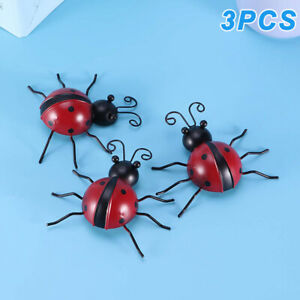 3Pcs-10cm-Iron-Ladybug-Wall-Hanger-Wall-Hanging-Outdoor-Garden-Decor-Craft