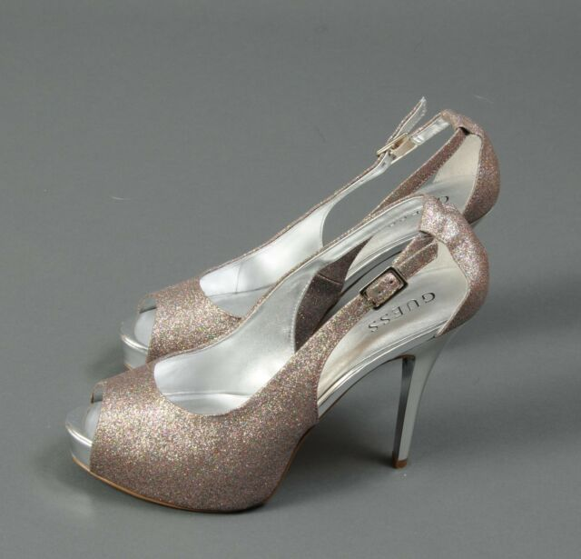 GUESS Shoes Sequin GLITTER PEEP TOE HIGH HEEL STILETTO Platform size 9.5  Wedding 33d5e72c52f