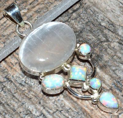 Selenite & Fire Opal 925 Sterling Silver Pendant Jewelry JJ6915