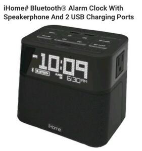Details about iHome Bluetooth Alarm Clock With Speakerphone And 2 USB  Charging Ports