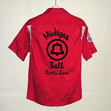 Vintage MICHIGAN BELL TELEPHONE Boola Balls Red OLYMPIAN Bowling Shirt 1970s M