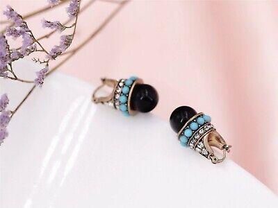 Boucles d/'Oreilles Dormeuses Doré Pavé Mini Perle Turquoise Noir Vintage AA16