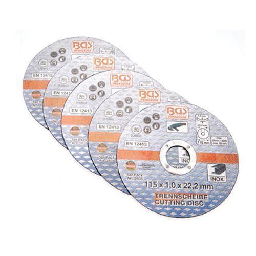 Trennscheiben Ø 115 mm Diamanttrennscheibe für Edelstahl Trennscheibe 5-tlg BGS