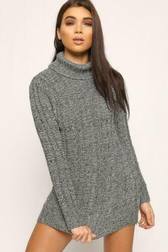 Women/'s Ladies Chunky Cable Knitted Polo Neck Long Sleeve Jumper Dress