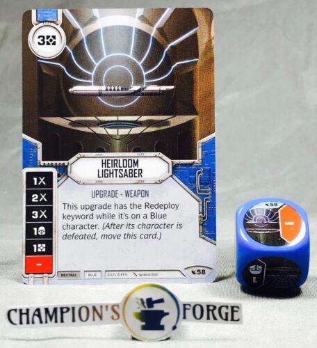Star Wars Destiny Legacies Set Heirloom Lightsaber #58 Rare w// Premium Die
