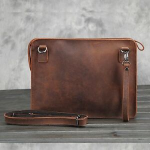 Men-039-s-Wristlet-Wallet-Shoulder-Envelope-Clutch-Bag-Leather-Messenger-Briefcase