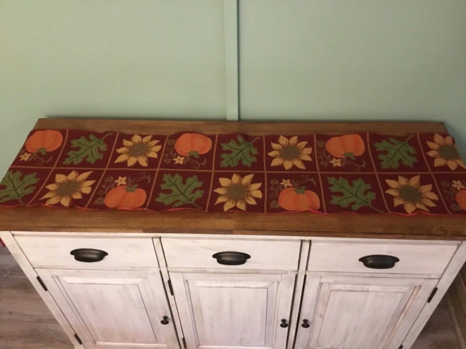 Autumn Fall Leaves Pumpkins Sunflowers Tapestry Table Runner 13 X 72 For Sale Online